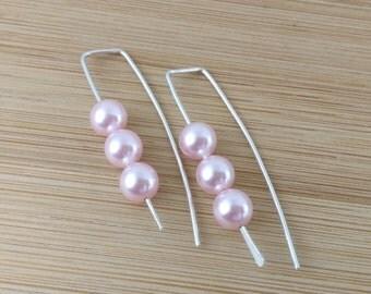 Pink Pearl Earrings Geometric Earrings Sterling Silver Open Hoops Minimalist Jewelry Pink Swarovski Pearls Modern Pull Through Earrings