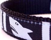 Sharks Dog Collar in Black,  Ribbon Dog Collar,  Nautical Ocean Pet Collar, Fish Ocean collar