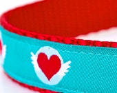 Hearts and Wings Dog Collar, Turquoise Pet Collar, Ribbon Adjustable Collar