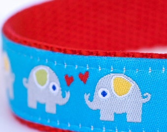 Blue Elephants Dog Collar, Adjustable Dog Collar, European Ribbon Collar