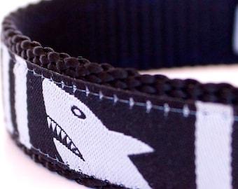 Sample Sale, Sharks Dog Collar in Black,  Size S, Ribbon Dog Collar,  Nautical Ocean Pet Collar, Fish Ocean collar