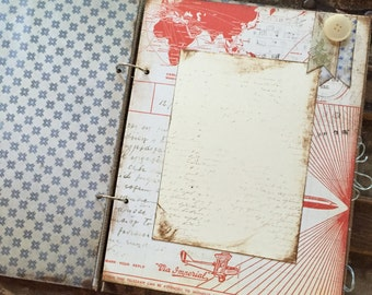 Rustic Baby Boy Book, Vintage Travel Theme Red and Blue, Handmade Baby Album Scrapbook - Ready To Ship