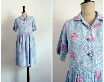 Vintage 50's Midi Day Dress Rayon Blue with Pink Patterns / Medium