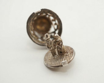Vintage Sterling  Bride and Groom Wedding Bell Charm - Opens
