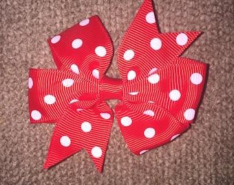 Red and white polkadot pin wheel piggy hair bows (set of 2)