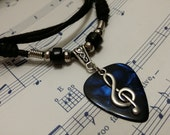 Guitar Pick Necklace - Treble clef Necklace - Blue Pick Necklace - Guitar Pick Jewelry - Music Necklace - Plectrum Necklace - Adjustable