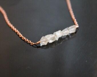 Five stone rough aquamarine necklace