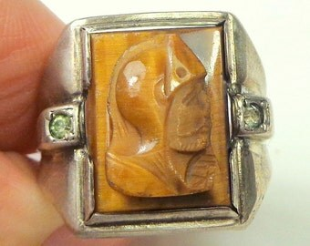 SALE, SZ 10, Men's Ring,Sterling Silver,Roman Warrior, Hand Carved Tigers Eye,Men's Formal Wear,Antique Men's Cameo Ring, Man's Gift