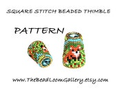 Beaded Thimble with Swarovski Rivoli Top - Delica Beads PDF PATTERN - Square Stitch - Vol.48 - The Fox Thimble