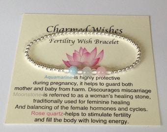 Sterling silver fertility bracelet, Fertility jewellery, IVF, Pregnancy wishes, Hormone balance bracelet, Gemstone crystal fertility gift.