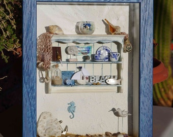 Miniature Beach Shadowbox - Dollhouse