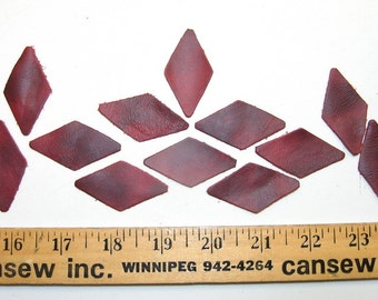 """2"""" x 1"""" Die Cut Leather Rhombus Shapes in Dirty Red (25 PC.) C3"""