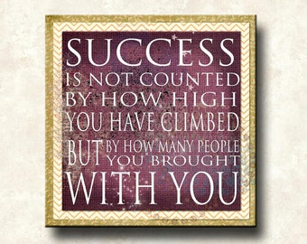 SUCCESS Word Art Print 12x12 Gallery Wrapped Canvas -  olive mustard purple motivational leadership