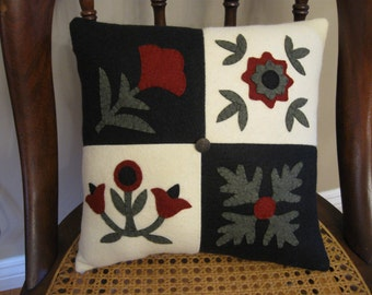Baltimore Quilt Wool Applique Pillow Penny Rug Style