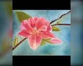 "Peach blossom painting print - Print of my Original Oil Painting ""Spring Blossom"" -   print - flower - Peach blossom - pink flower - home de"