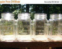 HEAT WAVE SALE Four Reliance Art Deco Coffee Mason Jars - 1940s - Reliance Wide Mouth Mason Jars - Excellent Condition