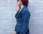 Rockin Vintage Rare Levis Red Jean Jacket with many silver zips  Size Small