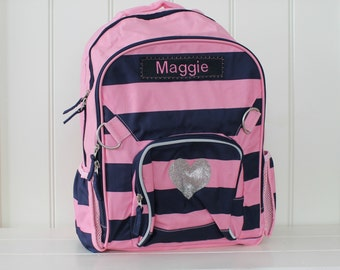 Small Backpack With Monogram (Small Size) -- Fairfax Navy/Pink Stripe with Glitter Heart