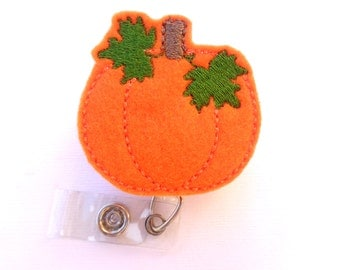 Fall Badge Holder Retractable - Harvest Pumpkin - orange felt - medical badge reel nurse badge reel - halloween thanksgiving