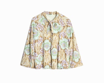 60s Vintage Floral Swing Jacket / Mint Green Shirt Jacket / 60s Art Nouveau Floral Print  - women's small
