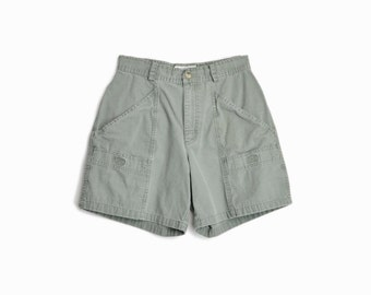 Vintage 90s Canvas Cotton Shorts in Faded Army Green / Hiking Shorts / 90s Outdoors-wear - women's small