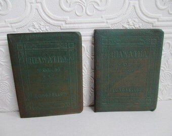 The Song of HIAWATHA Volume 1 and 2 by Henry Wadsworth Longfellow - Miniature Books Set Little Leather Library 1920s Antique Vintage