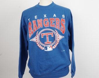 Texas Rangers baseball team souvenir XL sweatshirt 80s 90s vintage Hanes 50 50 royal blue and red crew neck shirt MLB licensed