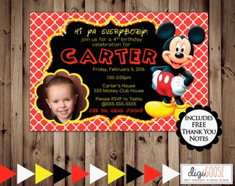Printable MICKEY MOUSE Birthday Party Invitation -- Digital File -- 24 hour or less turnaround