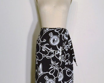 AUTUMN ARRIVAL 25% OFF Vintage 1980s Skirt - 80s Nautical Skirt - Navy Blue and White