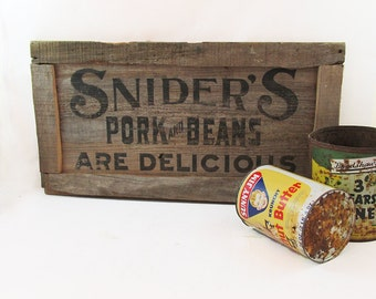 Snider's Pork & Beans Wooden Crate Panel - Advertising - Sign