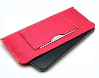 Caviar Pattern Embossed HOT PINK Leather Sleeve Case for your smartphone - Genuine Italian leather - Hand stitched