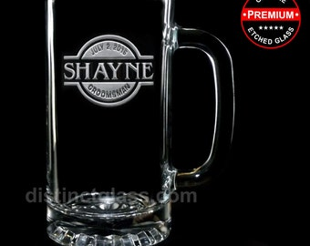 Gifts for Groomsman - SEAL CREST BEER Mugs - 16oz Etched Wedding Glass Beer Mugs for Best Man Usher Groom - Distinct Glass - Ships to Canada