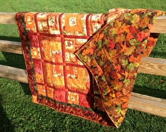 Autumn Lap Quilt in Maroon Red and Shades of Pumpkin Orange