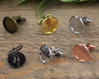 10 Cufflinks- Brass Silver/ Gold/ Rose Gold/ White Gold/ Gun-Metal Plated Cufflink W/ Round Bezel, 12mm/ 14mm/ 16mm/ 18mm/ 20mm- Z6091