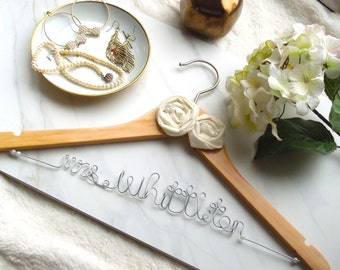 Personalized wire hanger for,bride,bridemade with rosette...