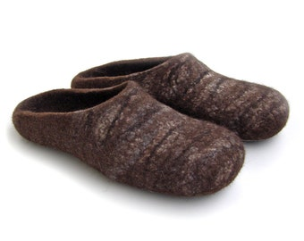 Eco friendly natural brown Chocolate/ felt slippers /men's / brown