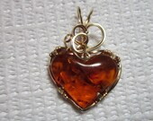 brown Baltic Amber  Heart Pendant wire wrapped in 14 k gold filled wire by Barb's Design