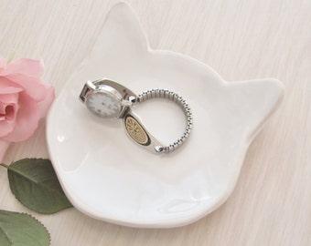 Cat Dish Soap Dish Ring Holder Handmade Ceramic Pottery Spoon Rest  White Stoneware