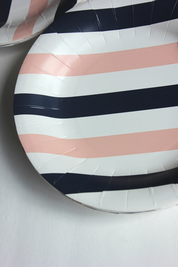 set 10 pink and navy blue paper plates 8 nautical girl. Black Bedroom Furniture Sets. Home Design Ideas