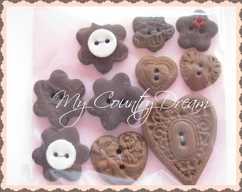 """Handmade Buttons """"Simply in Brown"""" - polymer clay buttons - set of 10 pcs."""