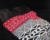 READY TO SHIP Lycra Twin/Single Sheet Aztec Pink and Black pattern Base with Black Band