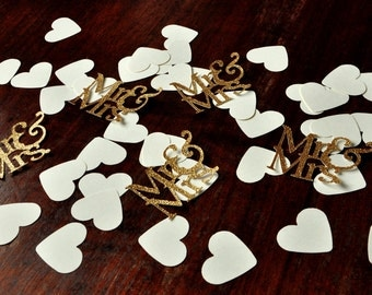 Wedding Table Confetti 45CT.  Handcrafted in 2-3 Business Days.  Mr. & Mrs. Party Decorations.  Engagement Party Decor.