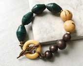 Fair Trade Bracelet. Forest green bracelet. Stacking bracelets. Deep brown bracelet. Multi colored bracelet. Paper bead bracelet. Acai