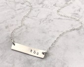 RESERVED FOR ELIZABETH. Silver bar necklace. Initial necklace. Personalized necklace. Mom necklace. Wedding gift. Minimalist jewelry. Simple