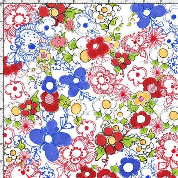 NEW Loralie Designs ApronEsque Kitchen Posies fabric 1 yard