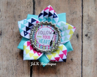 Follow your Heart....ribbon flower bow