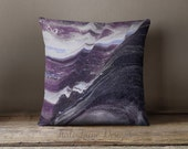 Abstract Dark Purple Marble Decorative Throw Pillow Case w/optional insert - Nature, Rock, Marble, Grey, Pink, Purple