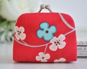 Tree Bloom in Red - Tiny Kiss lock Coin Purse/Jewelry holder