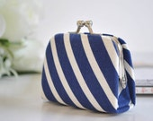 Rugby Stripe in Navy - Tiny Kiss lock Coin Purse/Jewelry holder