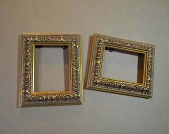 ACEO Picture Frame Pair Antiqued Gold Ornate Solid Wood Wallet size Photo Frame